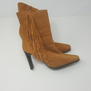 🐝Camel Medium Rise Suede Leather Boots sz 8